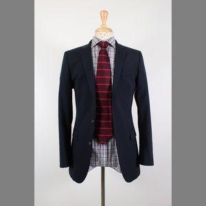 #HUGOBOSS 38R Navy Stripe Wool 2B Sport Coat 76-6